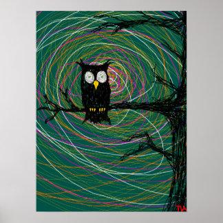 spooky owl tree poster