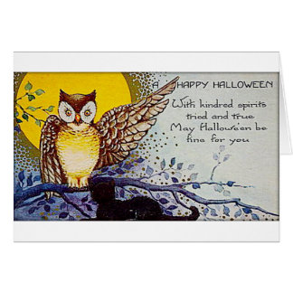 Spooky Owl Vintage Halloween Card