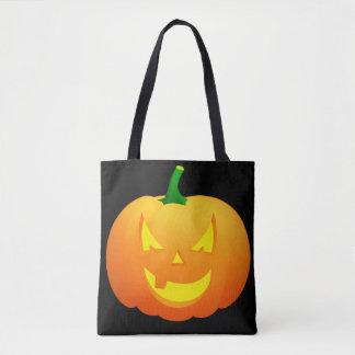 Spooky Pumpkin Face Customizable Tote Bag