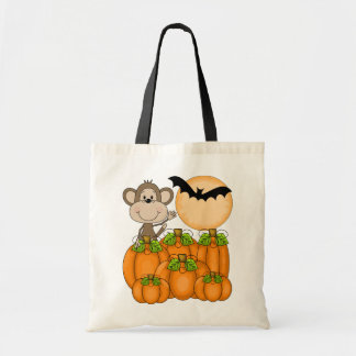 Spooky Pumpkin Patch Monkey Budget Tote Bag