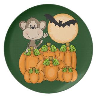 Spooky Pumpkin Patch Monkey Plates