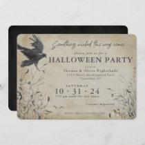 Spooky Raven Halloween   Something Wicked Invitation