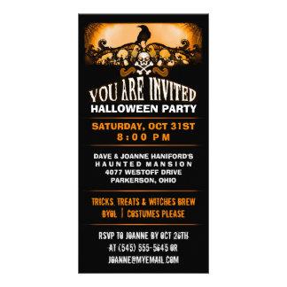 Spooky Raven Orange & Black Halloween Party Invite
