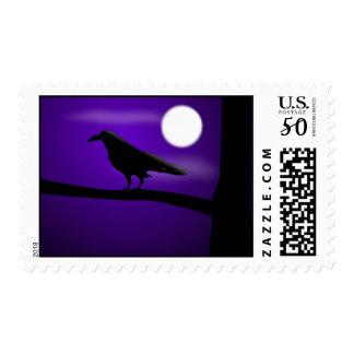 spooky raven postage