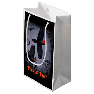 Spooky Raven Witch Halloween Gift Treat Bag Small Gift Bag