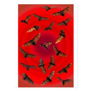 Spooky red Halloween Fruit Bats (Flying foxes) Postcard