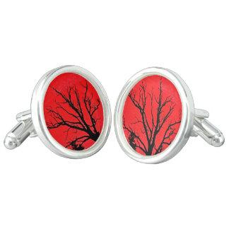 SPOOKY RED TREE CUFFLINKS