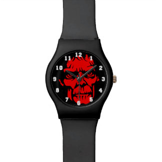 Spooky Red Zombie Face Wristwatches