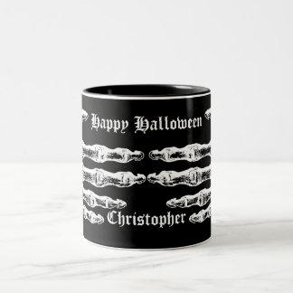 Spooky skeleton hands Two-Tone coffee mug