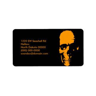 Spooky Skull Address Label Landscape Black