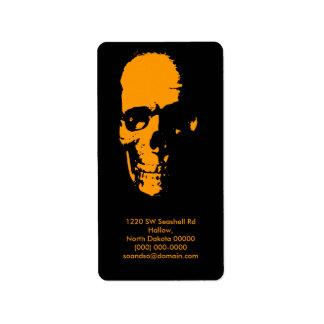Spooky Skull Address Label Portrait Black