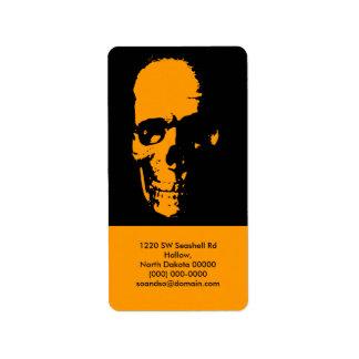Spooky Skull Address Label Portrait Orange