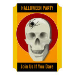 Spooky Skull and Creepy Spider Web Halloween Party Personalized Announcement