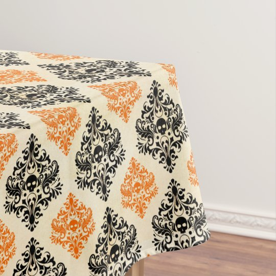 Incroyable Spooky Skull Pattern Black Orange Gold Halloween Tablecloth