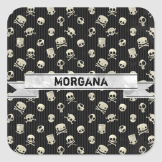 Spooky Skull Pattern with Ribbon Square Sticker