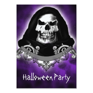 Spooky Skull Reaper Halloween Party Invitations