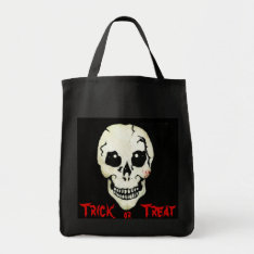 Spooky Skull Red Trick Or Treat Halloween Bag at Zazzle