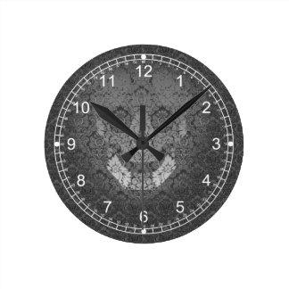 spooky skull round clock