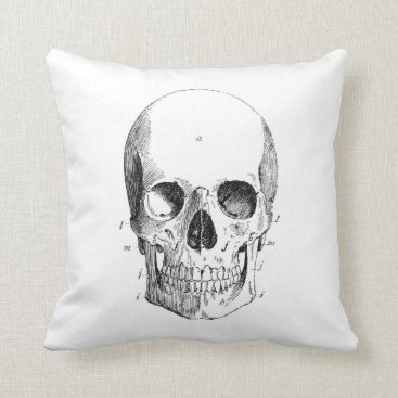 charmingink Spooky Skull Throw Pillow