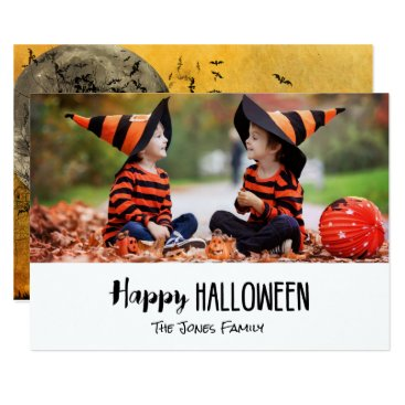 Halloween Themed Spooky Sky Haunted Moon Happy Halloween Photo Card