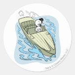 Spooky Speedboat Classic Round Sticker