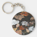 Spooky Spider on floating fall leaves on water Key Chain