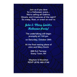 Spooky Spider Web Crawler Party Invitations