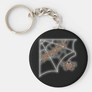 Spooky Spider Web Halloween Design Basic Round Button Keychain