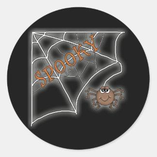 Spooky Spider Web Halloween Design Classic Round Sticker