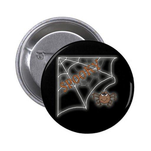 Spooky Spider Web Halloween Design Pinback Button