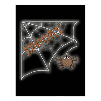 Spooky Spider Web Halloween Design Postcard