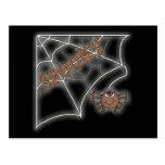 Spooky Spider Web Halloween Design Postcards
