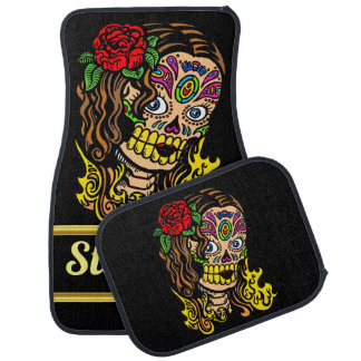 Spooky Sugar skull female with a painted face Car Mat