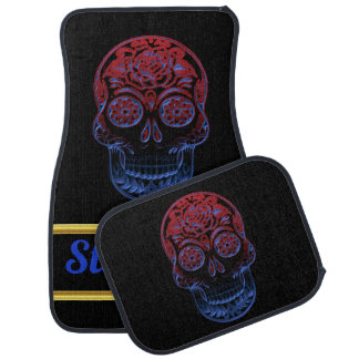 Spooky Sugar skull male with a blue red face Car Mat