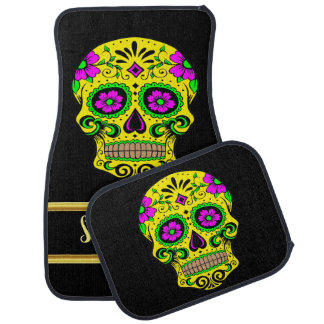 Spooky Sugar skull male with a pink flower eyes Car Floor Mat
