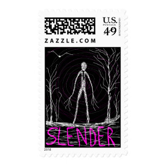 spooky thin man in woods stamps