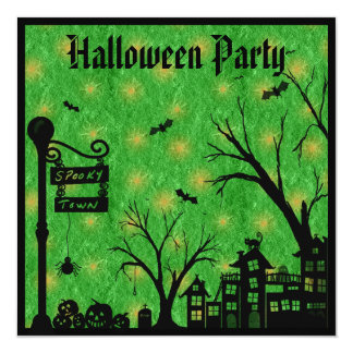 Spooky Town Green Halloween Party Invites