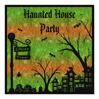 Spooky Town Haunted House Party Invites