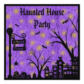Spooky Town Purple Haunted House Party Invites