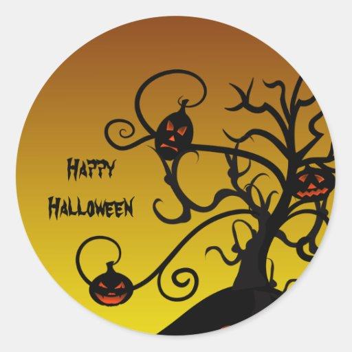 Spooky Tree And Jack O' Lantern Halloween Stickers