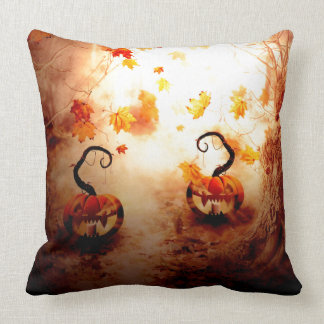 Spooky Tree and Pumpkin Throw Pillow