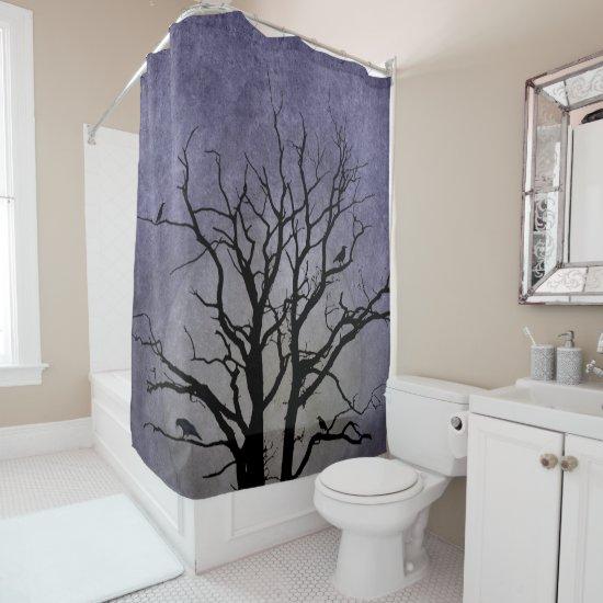 Spooky Tree Halloween Prints Shower Curtain
