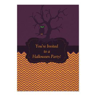 Spooky Tree Owl Chevron Personalized Custom Announcements