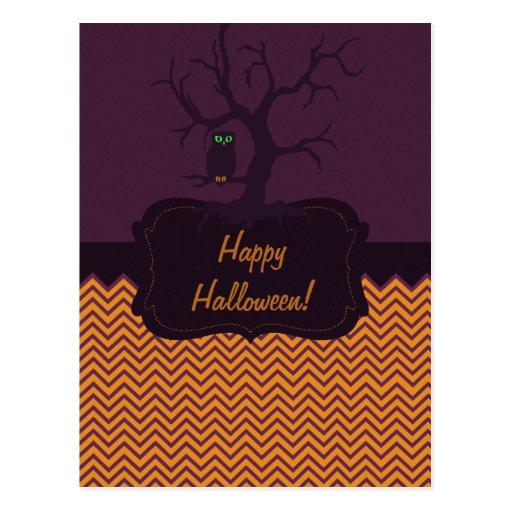 Spooky Tree Owl Chevron Postcard
