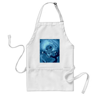 Spooky Tree Owls Abstract Art Adult Apron