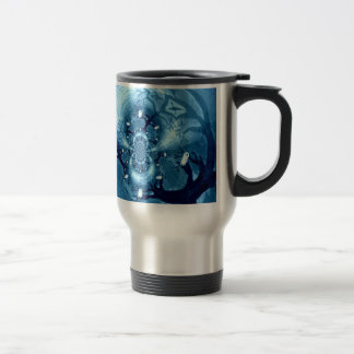Spooky Tree Owls abstract art 15 Oz Stainless Steel Travel Mug