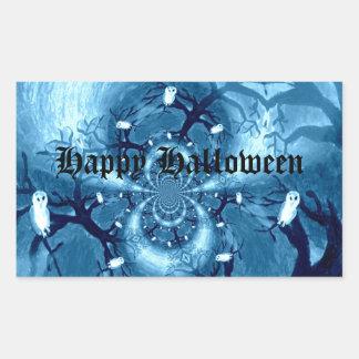 Spooky Tree Owls Rectangular Sticker