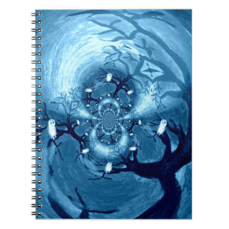 Spooky Tree Owls Spiral Notebook