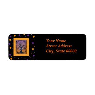 Spooky Tree & Spider Web Halloween Label