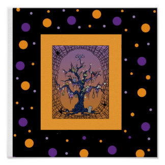 Spooky Tree & Spider Web Halloween Poster